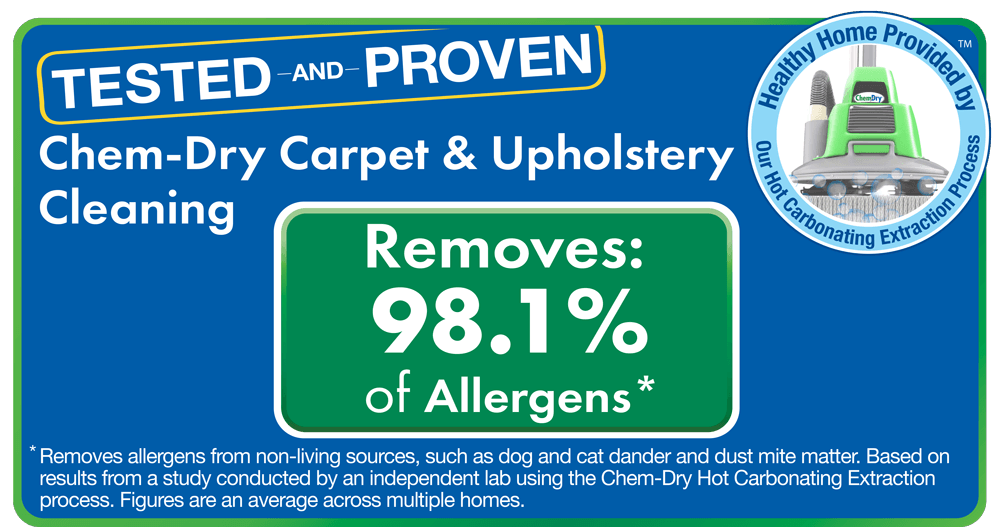 Chem-Dry home health study graphic showing that Chem-Dry can eliminate 98% of germs and bacteria from upholstery.