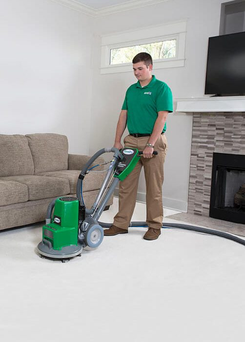 A Chem-Dry Carpet Cleaner working in a San Francisco home.